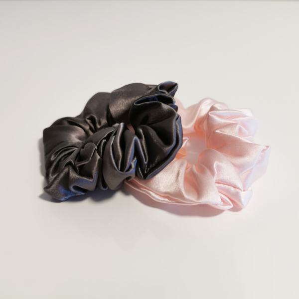scrunchie par elastik roza siva